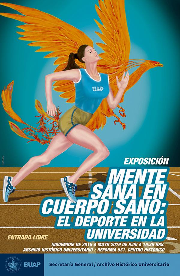 Cartel de la exposición Mente Sana en Cuerpo Sano: el deporte en la universidad